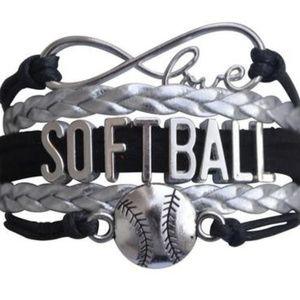 Girls Softball Bracelet - Black & Silver